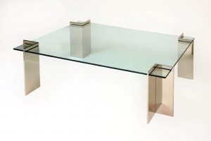 Angle Leg Coffee Table Mirror Polished Stainless Steel