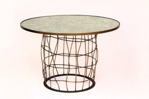 Basket Weave Center Dining Table Bronze Available In Steel With Faux Bronze Finish