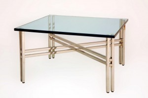 Double Leg Polished Stainless Coffee Dining Console Table